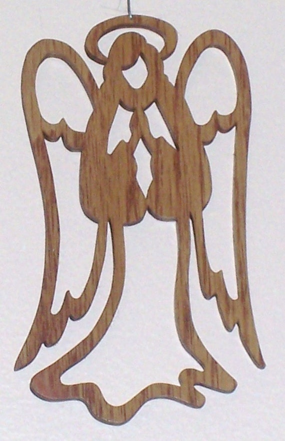 Items similar to Scroll saw cut angel with praying hands--2c on Etsy