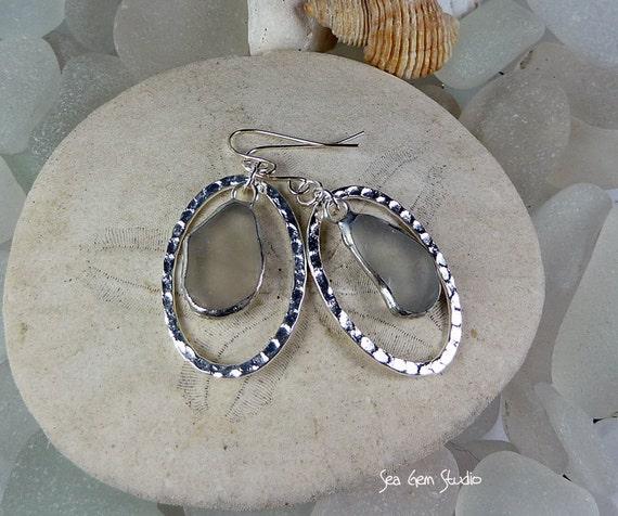 Glass Float Earrings, sea glass earrings, beach glass, eco friendly, sea glass jewelry, beach wedding