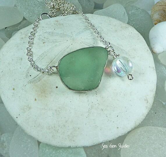 Pure sea glass necklace, eco friendly, beach glass necklace, beach wedding, sea glass jewelry
