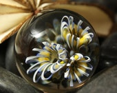 Blue and Yellow  Floral Marble