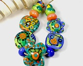 Glass Bead Orange Yellow Blue Green Teal Free Form Colorful Lampwork Beads Handmade Glass Beads