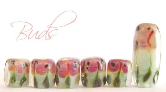Pale Aqua Green, Pink, Peach, Olive - Boro Cubes - Lampwork Beads - Buds