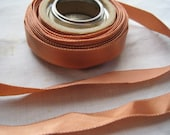 Vintage ribbon vintage thirties era silk satin 1/2 inch copper Y211