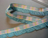 Vintage plaid ribbon French ribbon ruffle ribbon aqua blue ribbon fabric ribbon France ribbon 1940s rayon w ruffle  3/4 in teal Y907
