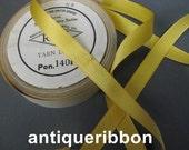 Vintage narrow yellow ribbon satin ribbon 1930s silk ribbon rayon  1/2 in yellow ribbon Y947
