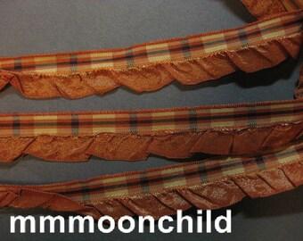 Vintage plaid ruffled ribbon 1930s rayon plaid w ruffle France 3/4 inch burnt orange Y913
