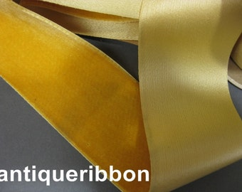 Antique ribbon Victorian velvet silk France 2 1/4 in Maize Yellow Y953