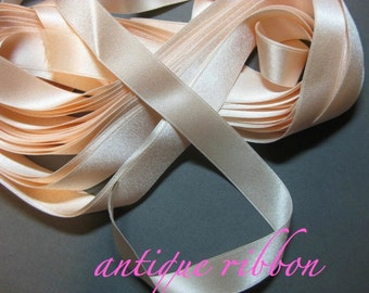 Vintage ribbon antique silk 1920 5/8 in boudoir pink Y969