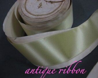 Vintage French silk ribbon antique Victorian era 1 1/2 in Absinthe green Y1070
