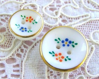 Antique Painted Buttons, 19 White Glass, Hand Painted Red and Blue Flowers, Gold Rims, 2 Sizes, West German, Collect or Re-Purpose