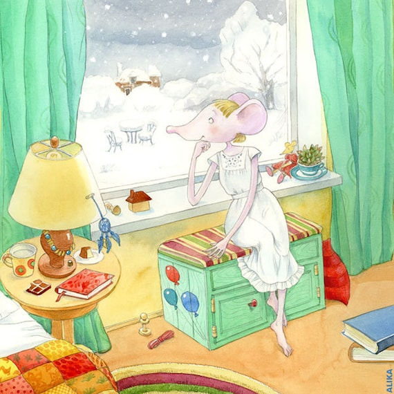 """First Snow Mouse Illustration Art Print from my children's book """"Glikeriya the Mouse"""""""