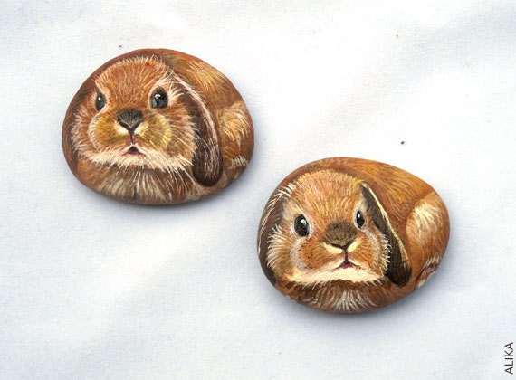 Painted rock stone art  bunnies, set of 2 (reserved for Airy)