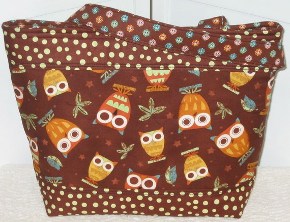 Brown Owls On A Whim Large Tote Bag  Ready To Ship