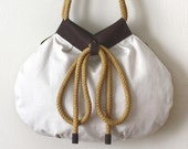 Reversible Fabric/Leather Tote w/ Rope Straps