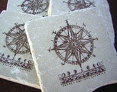 Compass, Vernal Equinox Autumnal, Fall, Compass Tile Coasters, Antique Brown, Set of 4