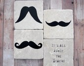 Moustache Tile Coasters, Mustaches, It's All About The Stache, Black and White Tile Coasters, Set of 4 by lterrill9