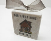 Our First Home Personalized Ornament With Gift Box, Housewarming, Custom Tile Ornament, House
