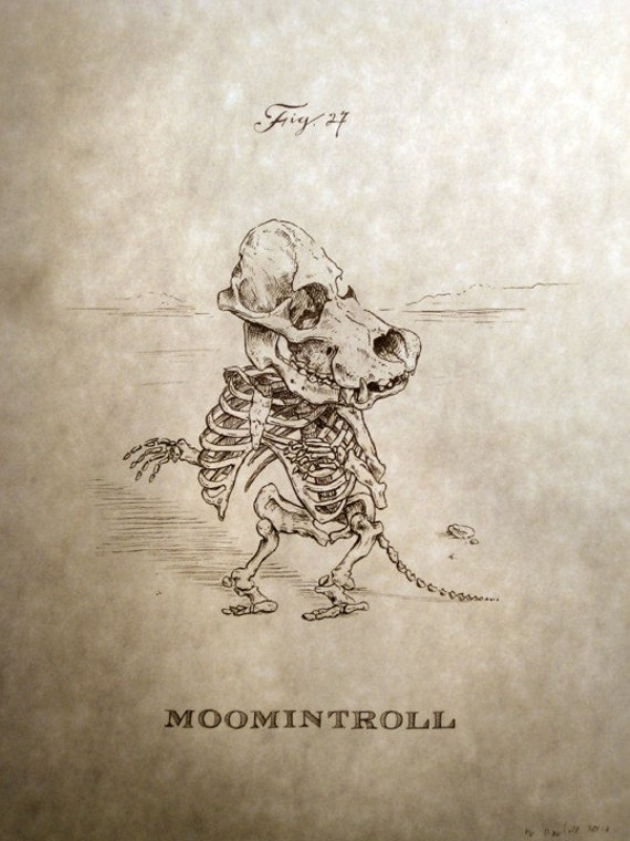 Moomintroll Skeleton Print 8x10