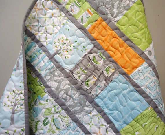 Modern Baby Boy Quilt - Backyard Baby - Gray Grey Aqua Orange-Michael Miller -Made to Order