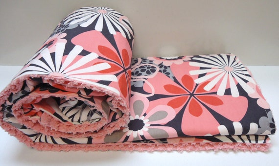 Chenille Baby Blanket ,Pink and Gray, Grey,, Flower Shower, Polyester Free