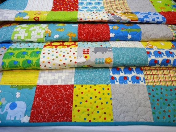 Bungle Jungle Baby Boy Quilt-Made to Order