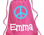 Peace Sign Drawstring Backpack Personalized