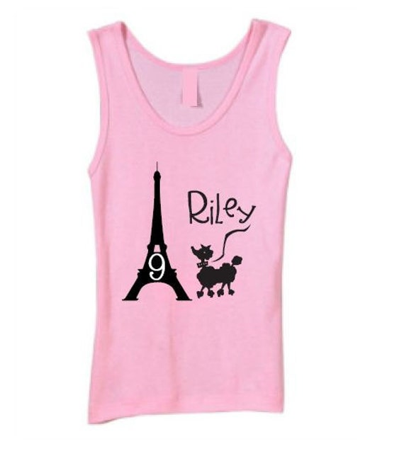 French Pink Poodle in Paris Birthday Shirt Personalized Tank Top