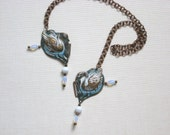 Handpainted Brass Swan Lake Nouveau Art Necklace