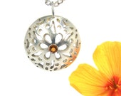 Sterling Silver Citrine Flower Necklace - Poppy Dome