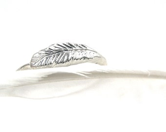 Delicate Sterling Silver Feather Ring White Winter Forest Woodland Subtle Soft Cute Boho - Feather's Silver