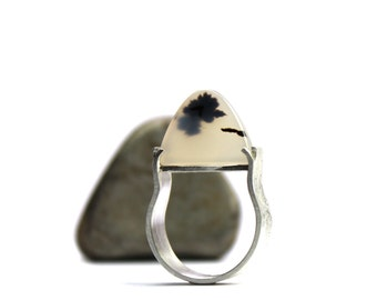 Modern Zen Montana Agate Silver Ring Black White Dome Shaped Natural Gemstone Slice Inspirational Statement Band Wide Shank - Cloud Temple