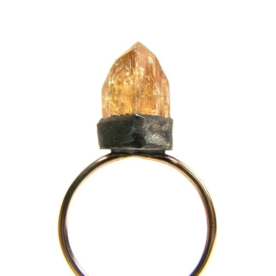 RESERVED FOR Shirley - Yellow Gold Imperial Topaz Crystal Ring - Imperial Flame