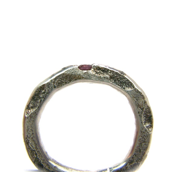 Pink Garnet Distressed Sterling Silver Ring - Damaged