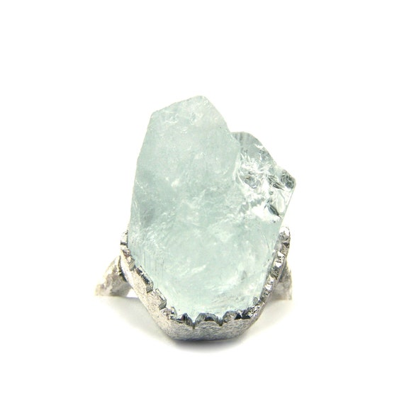 Raw Aqua Icy Sterling Silver Ring - Eisberg