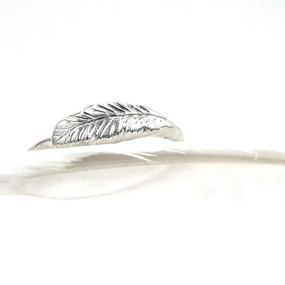 Delicate Sterling Silver Feather Ring White Winter Forest Woodland Subtle Soft Unique Handmade Cute Boho Bird Wing Band - Feather's Silver