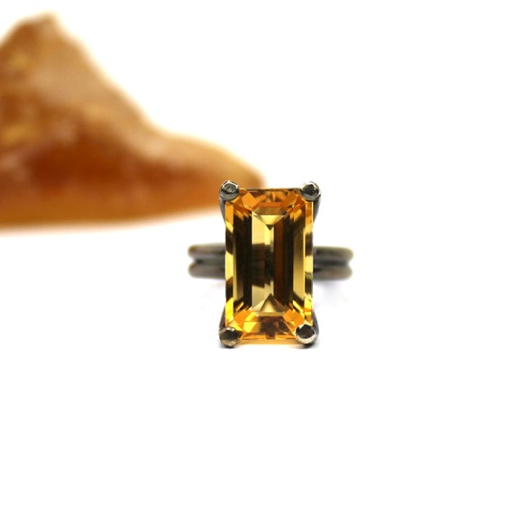 Tangerine Citrine Cocktail Silver Ring - Tangerine Quench