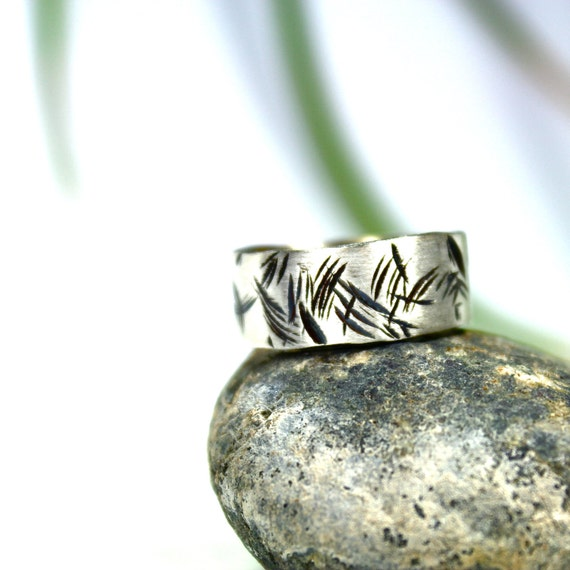 Men's Silver Palm Tree Fronds Ring - Palms in the Wind