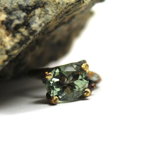 Pale Moss Green Prasiolite Silver Ring - Rock Moss