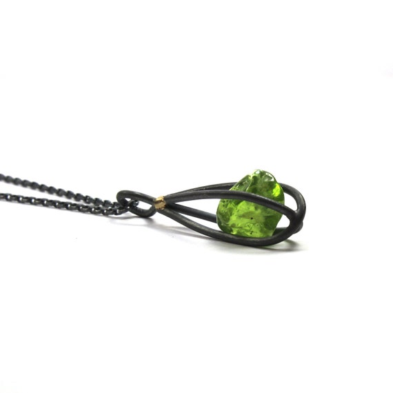 Peridot Black Silver Gold Cage Necklace - Moss Cage