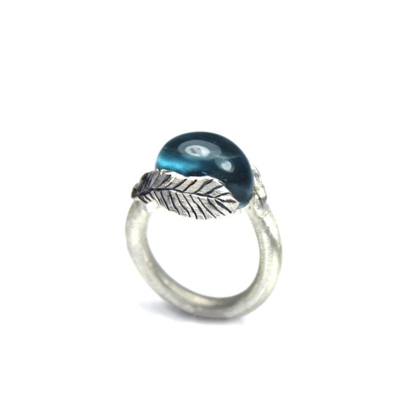 Large Silver Feather Blue Topaz Ring - Feather Drop