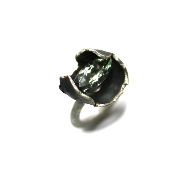 Pale Green Prasiolite Silver Ring - Frauenmantel
