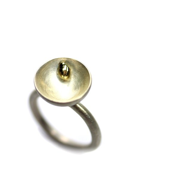 Silver Cup 18K Yellow Gold Drop Ring - Abundance