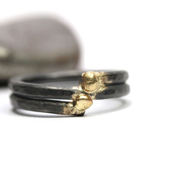 Men's Oxidized Silver Gold Wedding Ring Father's Day - Connected