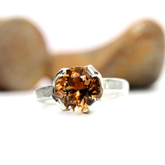 Silver Golden Brown Whiskey Topaz Ring - Golden Cup