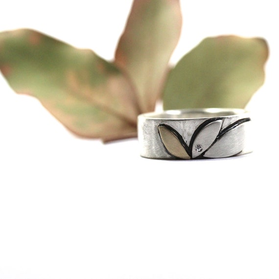 Silver Gold Diamond Tribal Leaf Ring - Eucalyptus