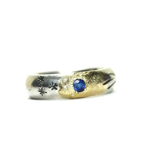 Stellar Silver Gold Blue Sapphire Ring - Cosmic Impact