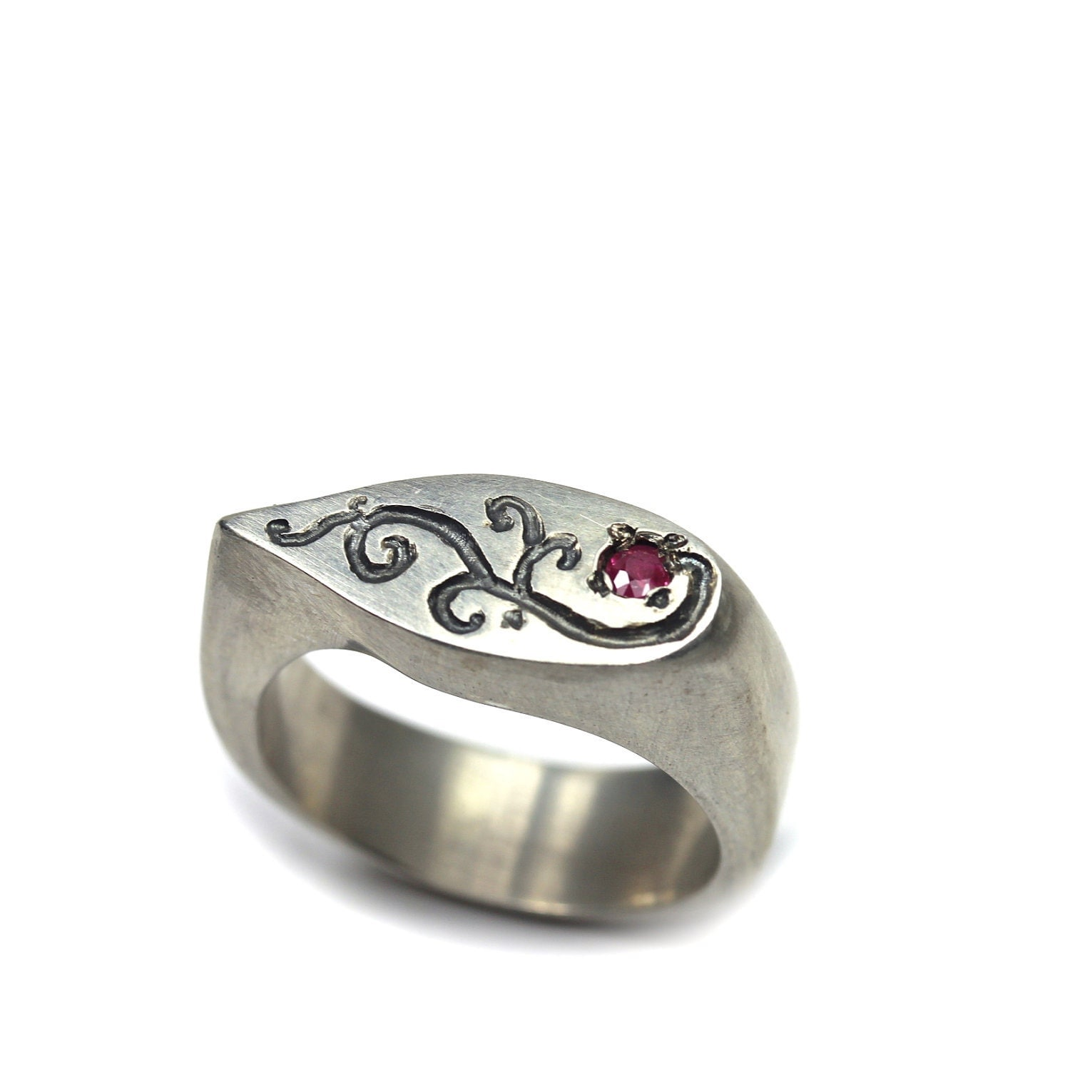 s sterling silver ruby signet ring ruby vine