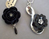 Black Rose Hairpin and Hair Clip Set Goth Victorian