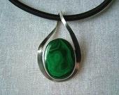 Green Russian malachite sterling silver pendant handmade