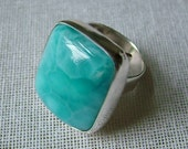 Larimar ring handmade from sterling silver,  square large adjustable ring